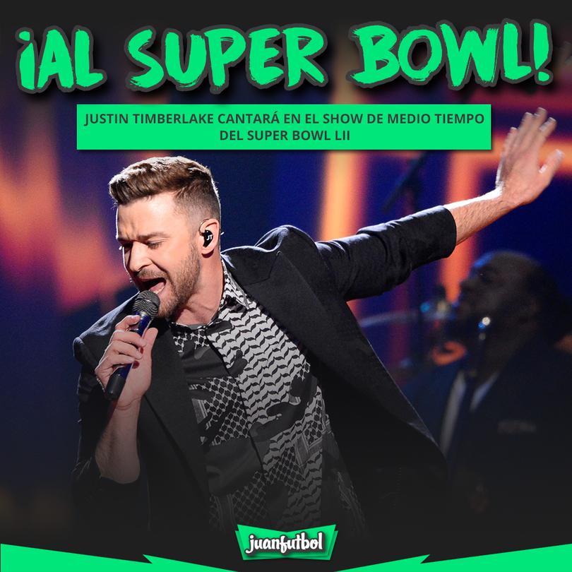 Justin Timberlake cantará en el show de medio tiempo del super bowl LII