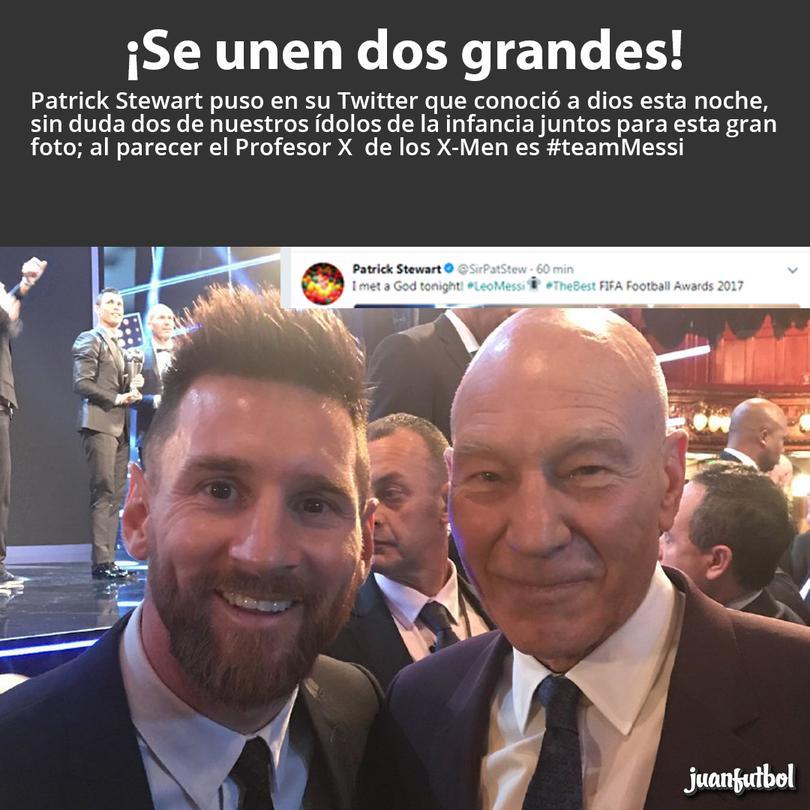 Messi y Patrick Stewart juntos por primera vez