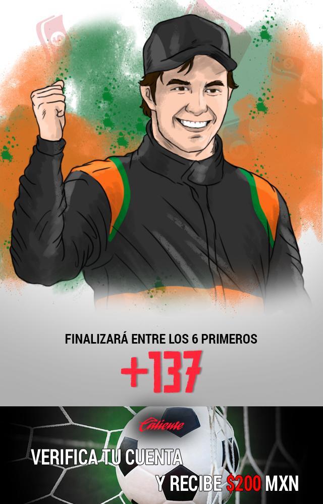 Si crees que Checo Pérez finalizará entre los 6 primeros en el Gran Premio de México, apuesta en Caliente y llévate mucho dinero.