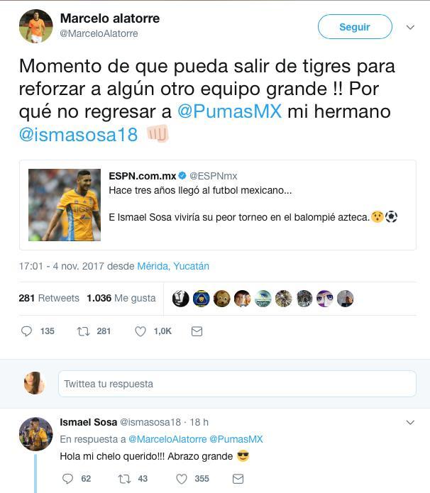 Marcelo Alatorre recomienda a Sosa volver a Pumas.