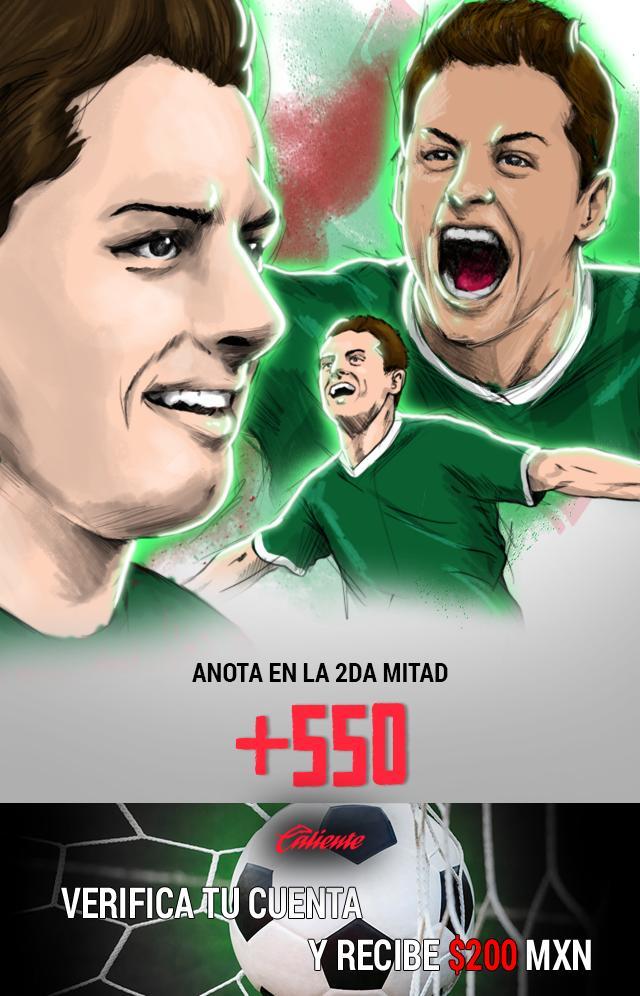 Si crees que Chicharito anota gol en el segundo tiempo contra Bélgica, apuesta en Caliente y llévate mucho dinero.