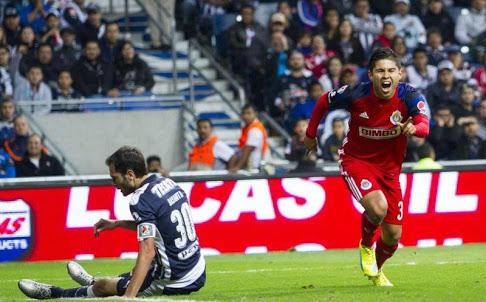 López celebrando su gol ante Monterrey.