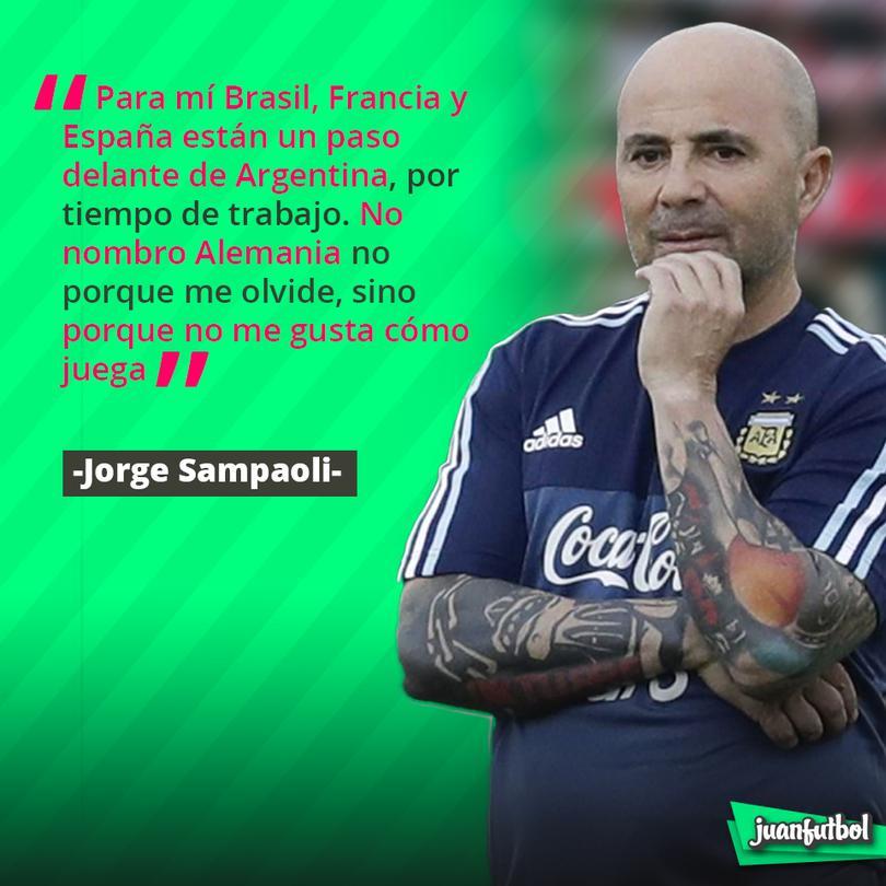 Para Sampaoli Alemania no es mejor equipo que Argentina