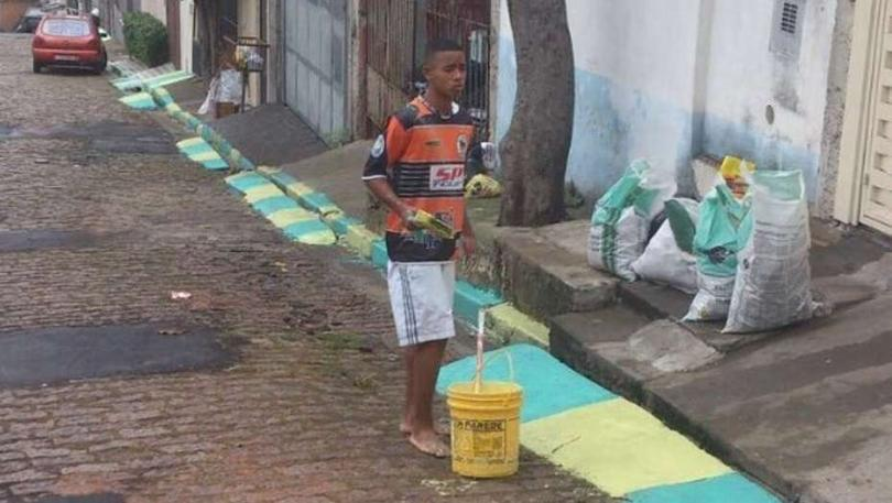 Gabriel Jesus durante los preparativos para Brasil 2014