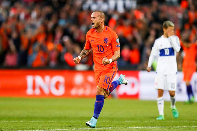 Wesley Sneijder con Holanda.
