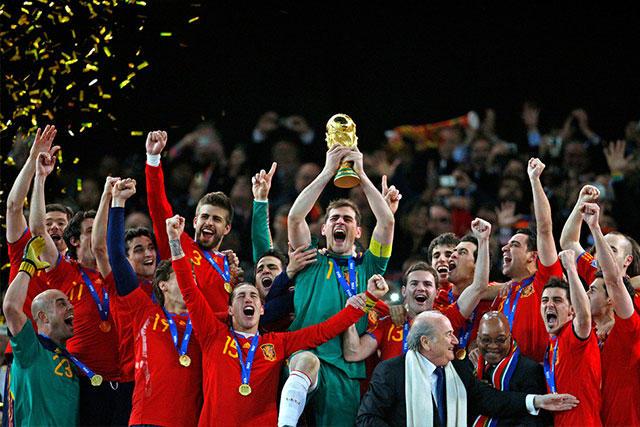 Jugadores de España después de ganar la Copa del Mundo en Sudáfrica 2010.