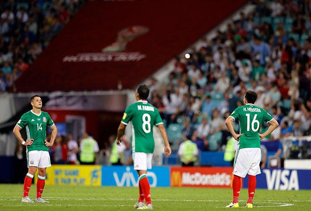 Jugadores de México después del partido contra Alemania