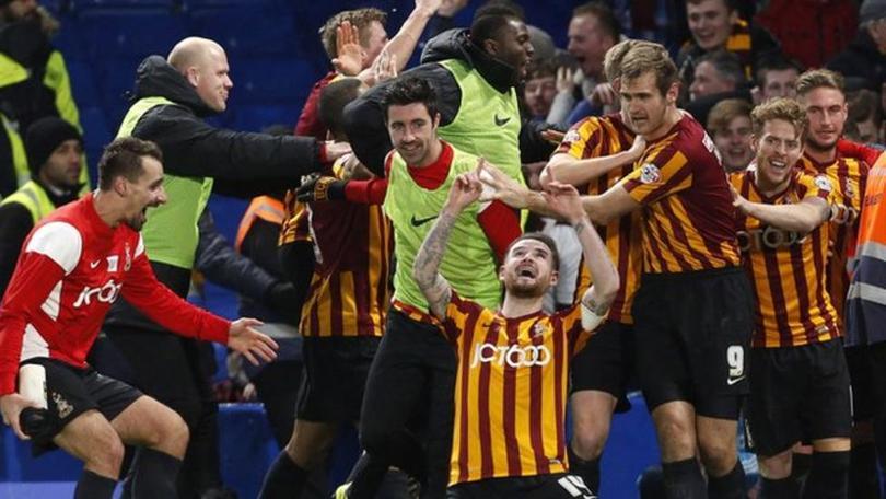 Bradford City goleó a domicilio al Chelsea