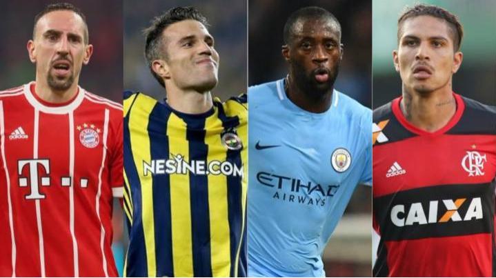 Franck Ribery, Van Persie, Yaya Toure, Paolo Guerrero