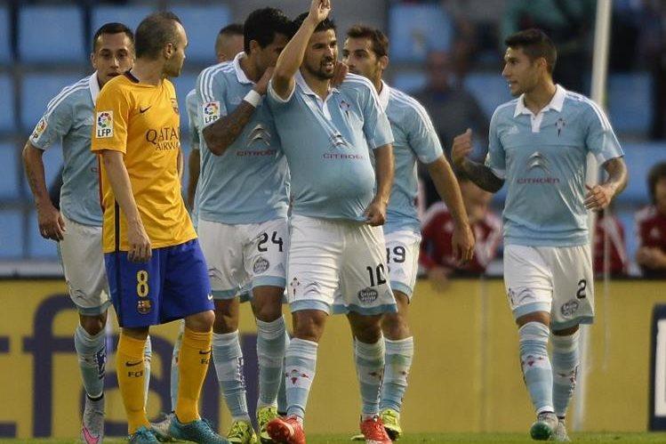 Nolito celebra un gol frente al Barcelona.