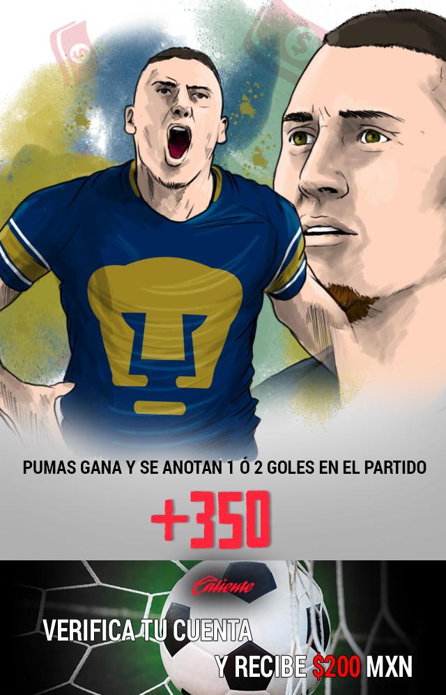 Si crees que Pumas gana contra Atlas y se anotan 1 ó 2 goles en el partido, apuesta en Caliente y llévate mucho dinero.
