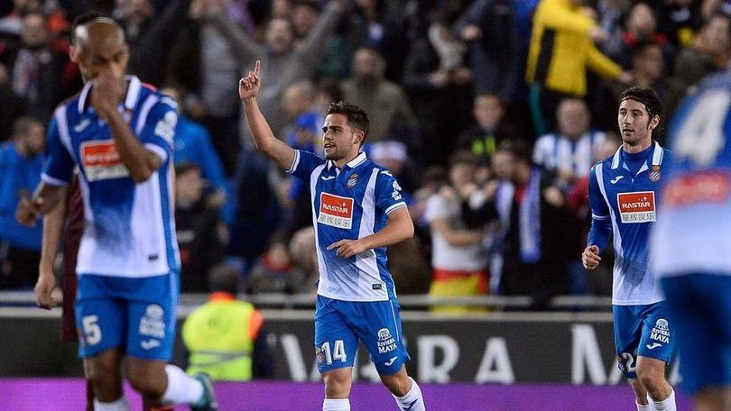 Óscar Melendo celebra gol