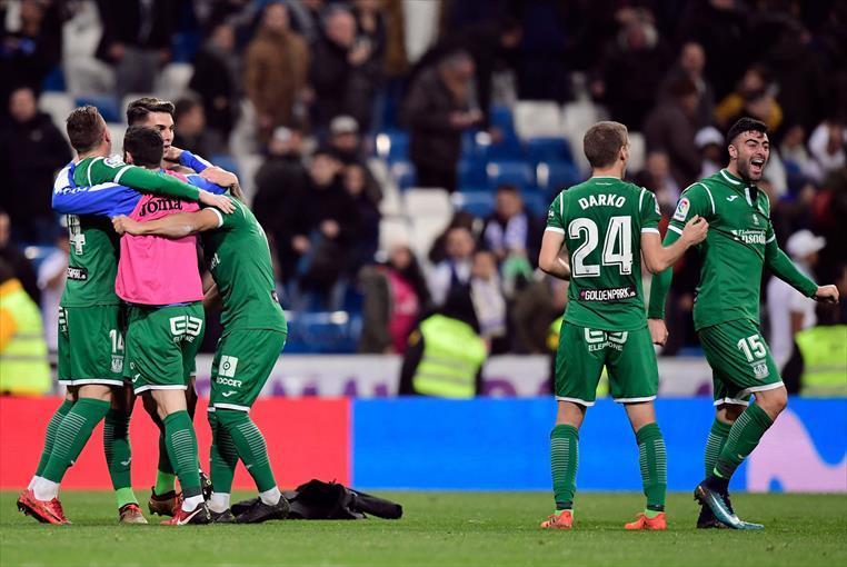 Festejo de Leganés al eliminar al Real Madrid en la Copa de Rey