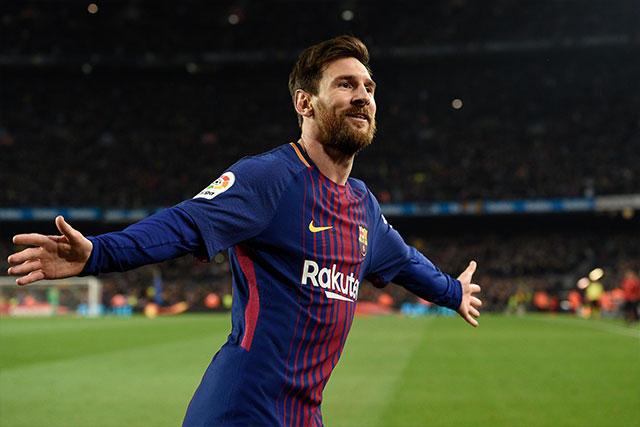 Messi celebra el segundo gol del Barcelona