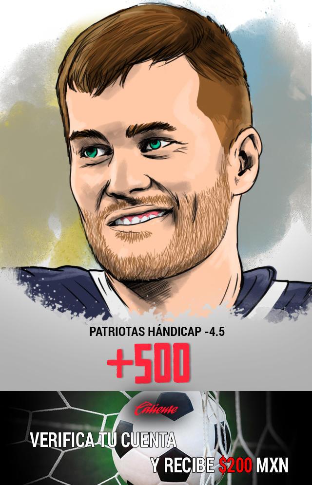 Si crees que los Patriotas ganan el Super Bowl con un hándicap de -4.5, apuesta en Caliente y llévate mucho dinero.
