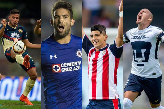 América, Cruz Azul, Chivas y Pumas