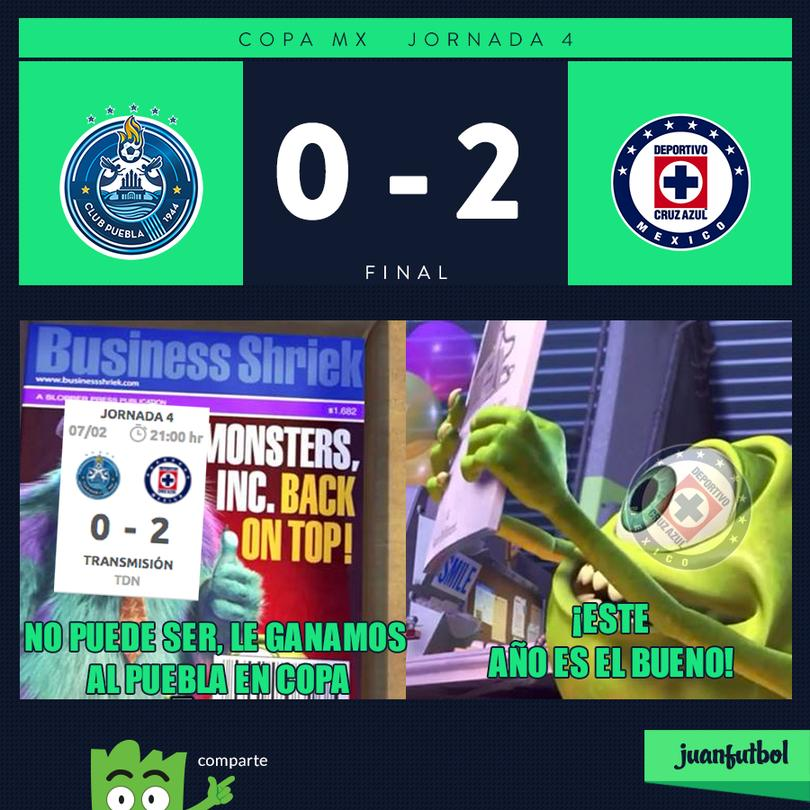 Puebla 0-2 Cruz Azul