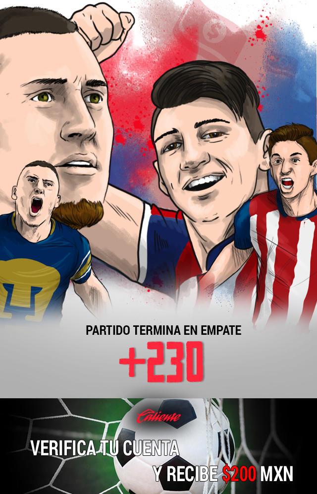 Si crees que el partido Pumas vs Chivas termina en empate, apuesta en Caliente y llévate mucho dinero.
