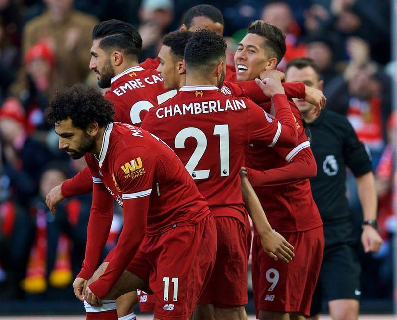 Disfrutando los jugadores del Liverpool