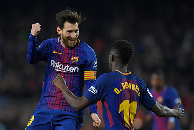 Messi celebra su segundo gol frente al Girona