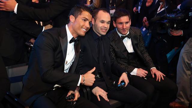 Messi, Cristiano e Iniesta en la gala del Balón de Oro