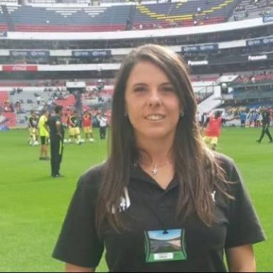 Inés Massaccesi en el Estadio Azteca
