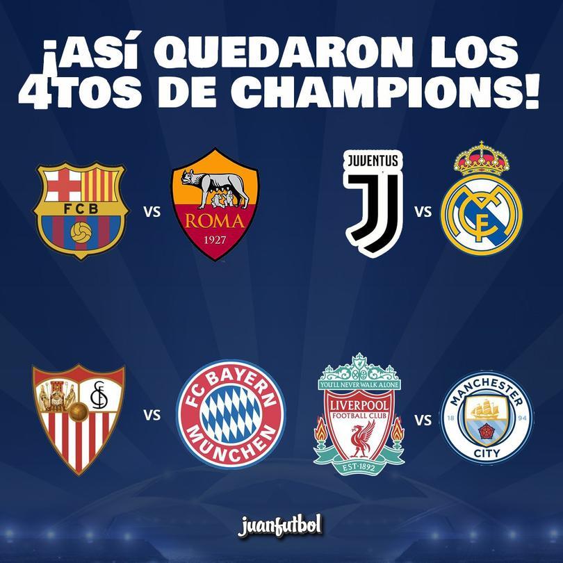 Sorteo de cuartos de final de Champions.