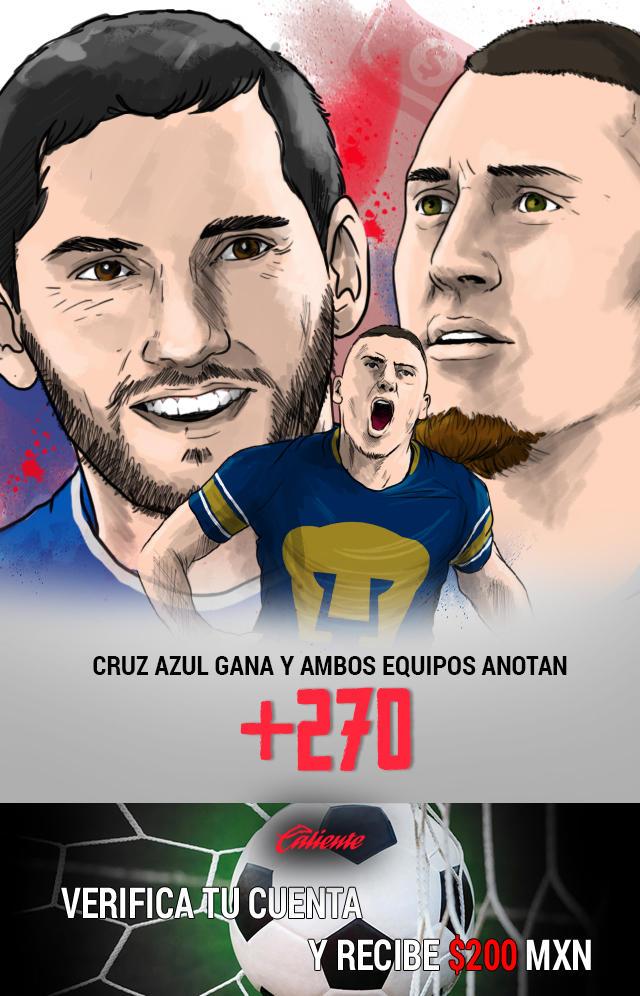 Si crees que Cruz Azul le gana a Pumas y ambos equipos anotan, apuesta en Caliente y llévate mucho dinero.