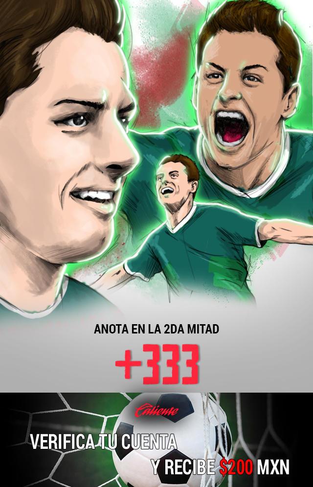 Si crees que Chicharito anota gol en la segunda mitad del partido vs Islandia, apuesta en Caliente y llévate mucho dinero.