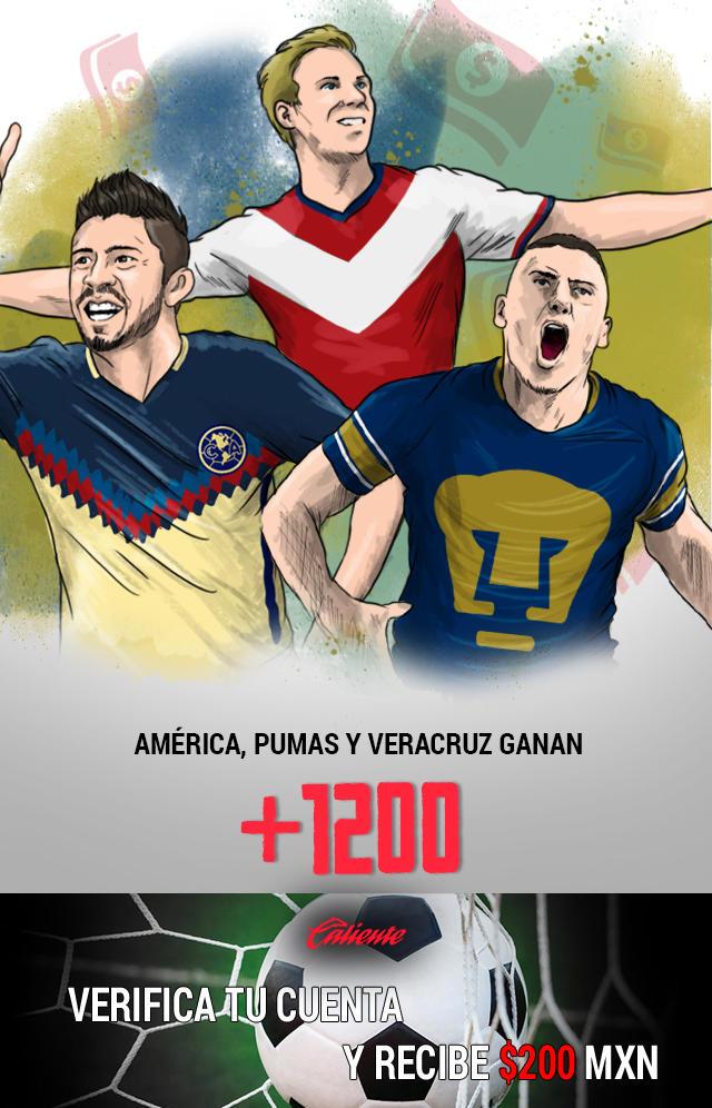 Si crees que América, Pumas y Veracruz ganan sus partidos en la J14 de la Liga MX, apuesta en Caliente y llévate mucho dinero.