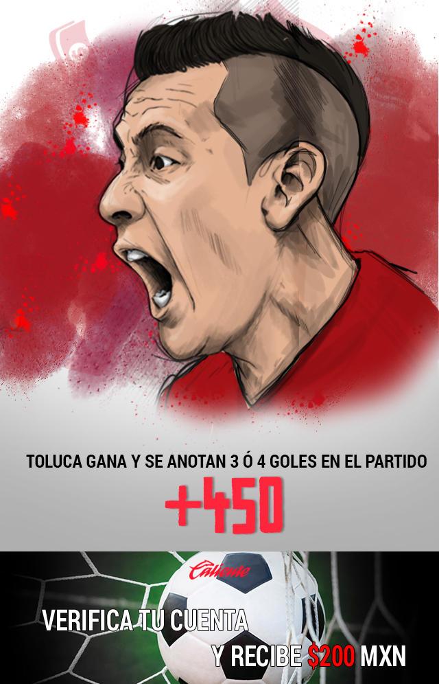 Si crees que Toluca gana y se anotan 3 ó 4 goles en el partido, apuesta en Caliente y llévate mucho dinero.