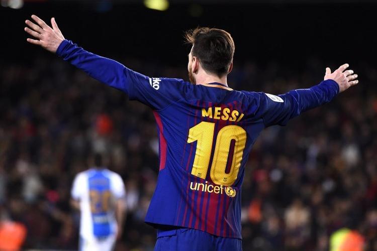 Messi después de anotar tres goles en la Liga