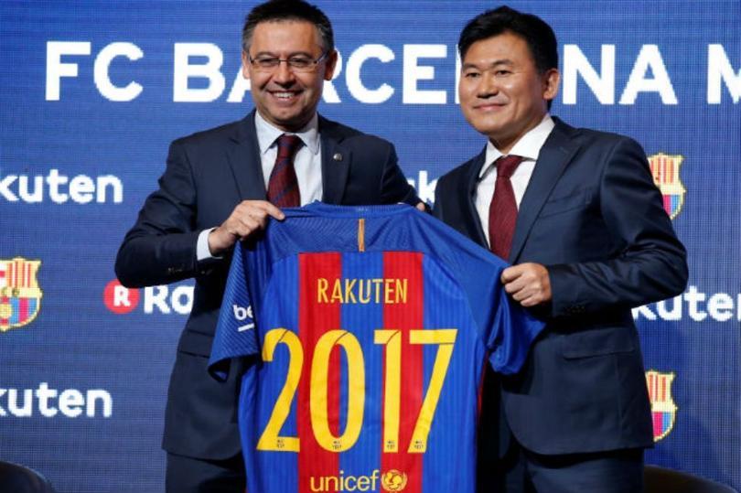 La firma del patrocinio del Barcelona con Rakuten