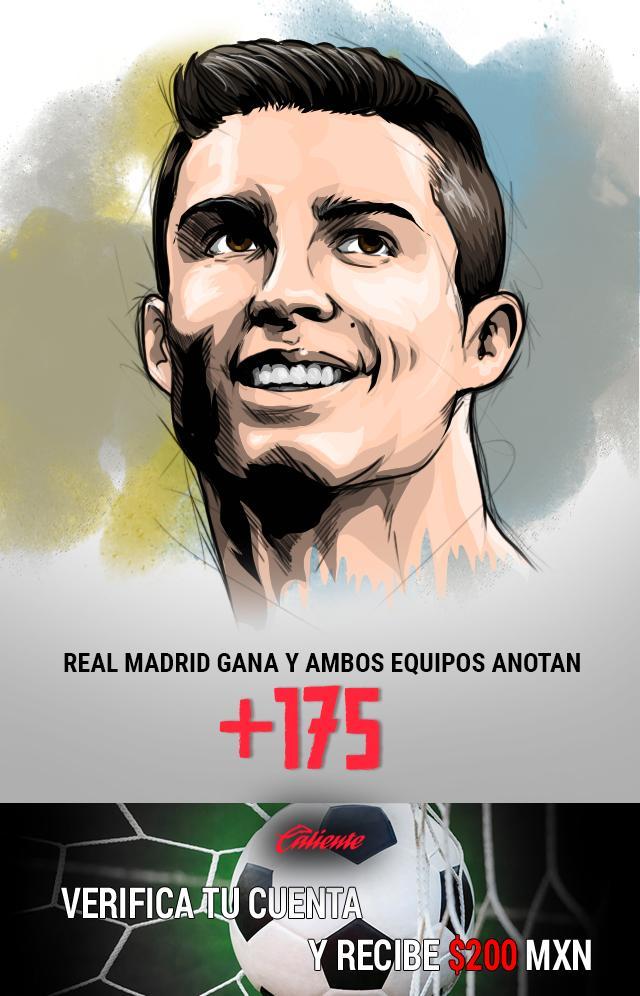 Si crees que el Real Madrid gana y ambos equipos anotan, apuesta en Caliente y llévate mucho dinero.