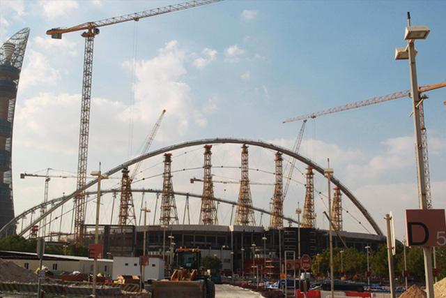 Construcción de un estadio en Qatar