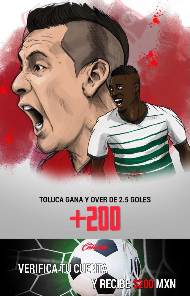 Si crees que Toluca gana el partido y hay Over de 2.5 goles, apuesta en Caliente y llévate mucho dinero.