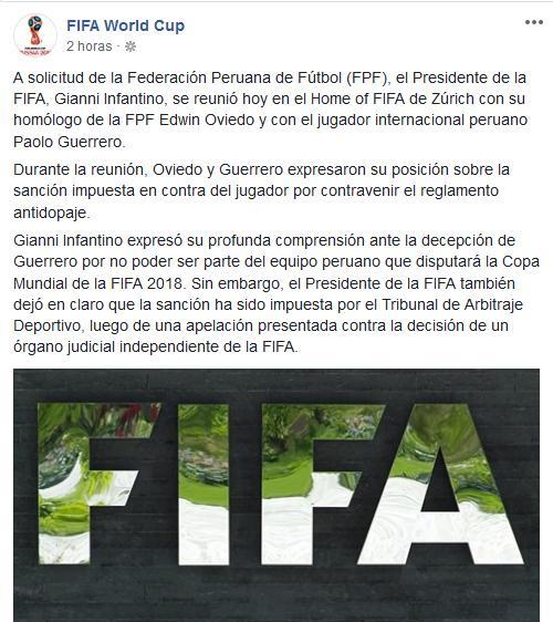Carta de la FIFA sobre el caso de Paolo Guerrero