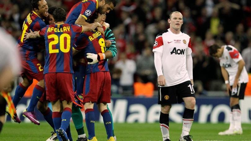 El barcelona celebrando la Champions del 2011