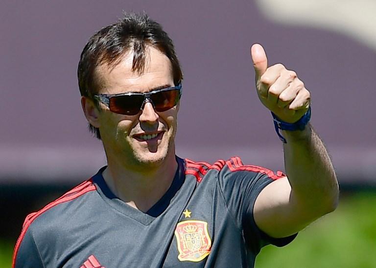 Julen Lopetegui en el último entrenamiento con España.
