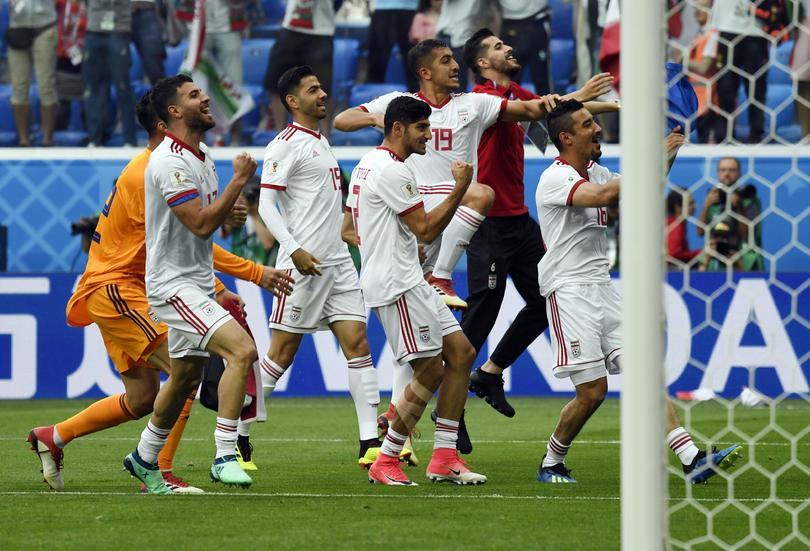 Irán festejando la victoria contra Marruecos