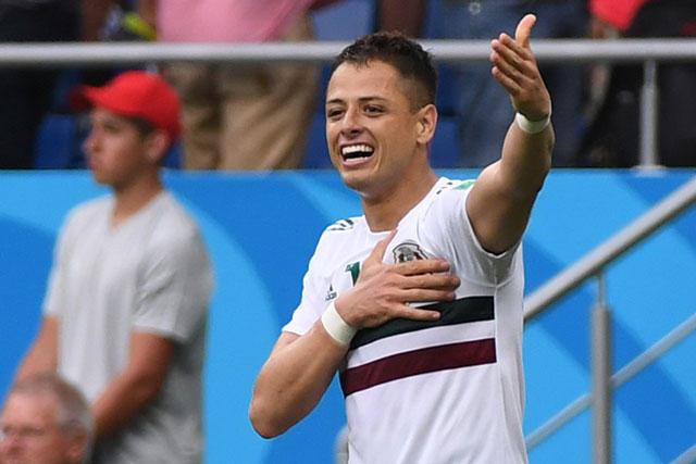 Chicharito celebra su gol contra Corea
