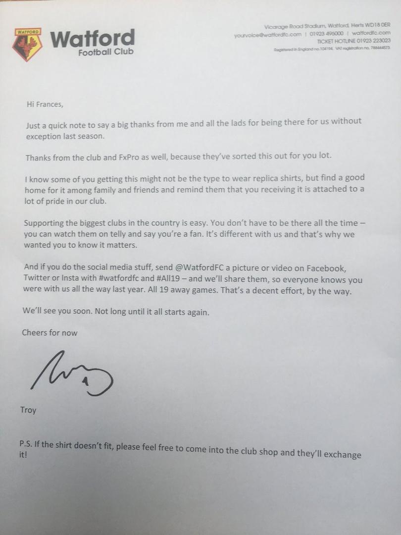 Carta completa del Watford FC.