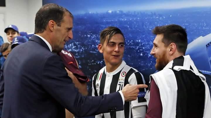 Messi con Allegri y Dybala