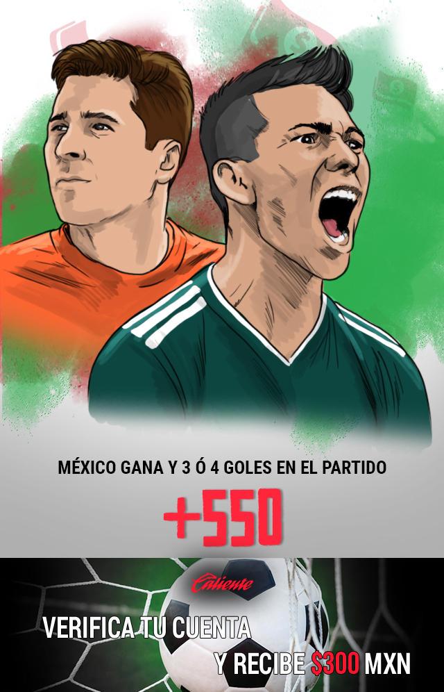 Si crees que la selección mexicana gana y hay 3 ó 4 goles en el partido, apuesta en Caliente y llévate mucho dinero.