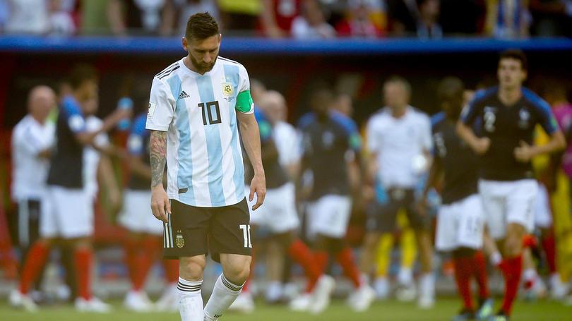 Messi después de la derrota ante Francia en Rusia 2018