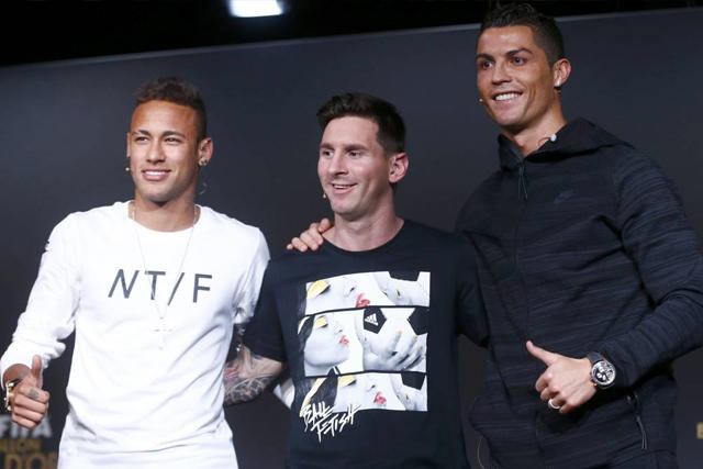 Neymar, Messi y Cristiano