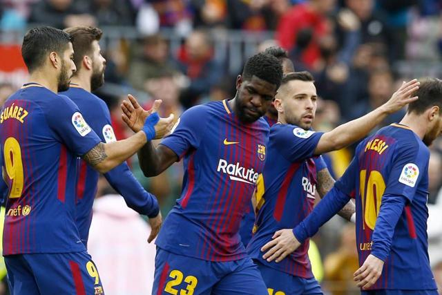 Suárez, Umtiti, Jordi Alba y Messi