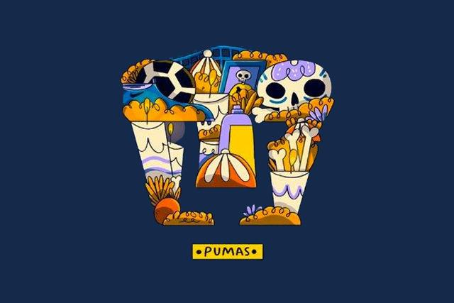 Logo de Pumas con diseño de ofrenda mexicana