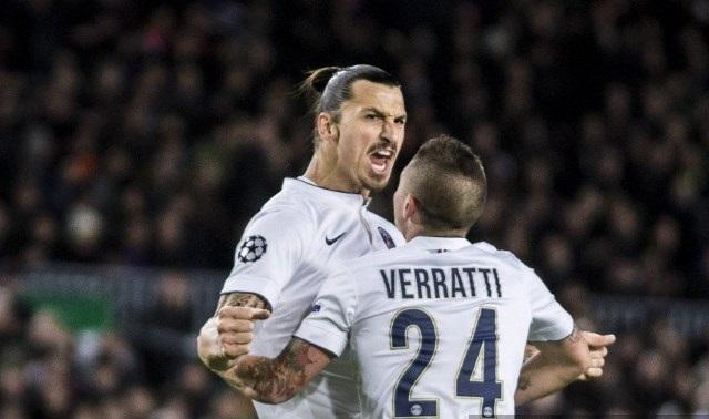 Celebración de Zlatan después de marcar gol