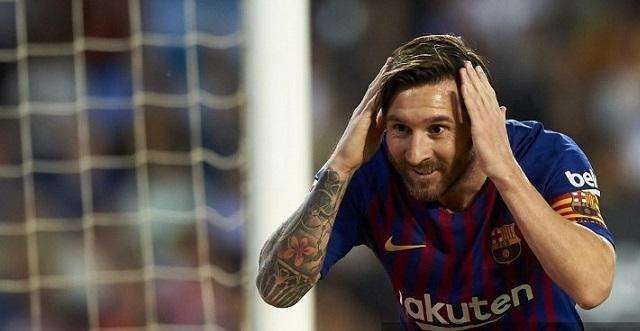 Festejo de Messi vs Valencia